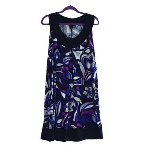 Enfocus Black White Purple Sleeveless Floral Dress